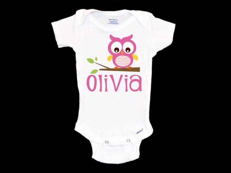 ee9038743 Customizable Owl Onesie Custom Baby Pink Jumpsuit | Etsy
