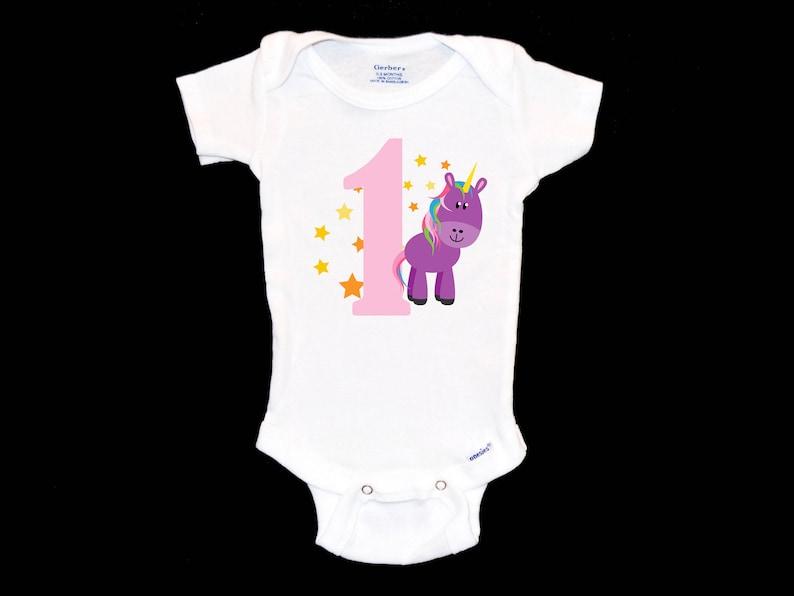306662f2328ee My First Birthday Purple Unicorn Onesie, One, Stars and Unicorns,  Fairytale, Birthday Party, Baby Girl, Daughter, I'm Turning One, Rainbow