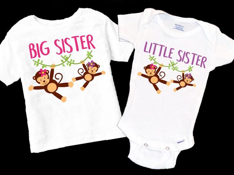 d7d588df7 Big Sister Little Sister Onesie Shirt Set. Monkeys. | Etsy