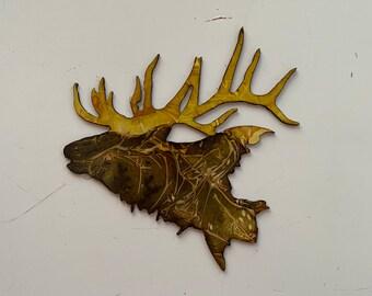 Miniature deer antler Carving of a  bugling elk magnet reproduction