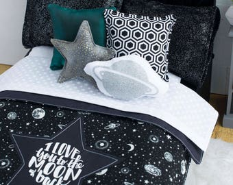 black and white galaxy doll bedding glow in the dark love you to the moon and back boys bedding outer space girls bedding planets - Space Bedding