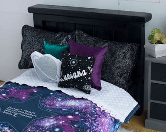 purple galaxy doll bedding 18 inch doll bedding outer space bedding planets stars luciana bedding doll blanket doll pillow - Space Bedding