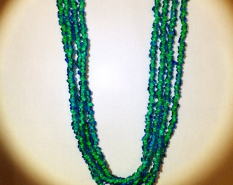 """Stunning, Vintage, Blue and Green Glass Bead, Ladies Necklace-Four Strands, 27"""" Long"""