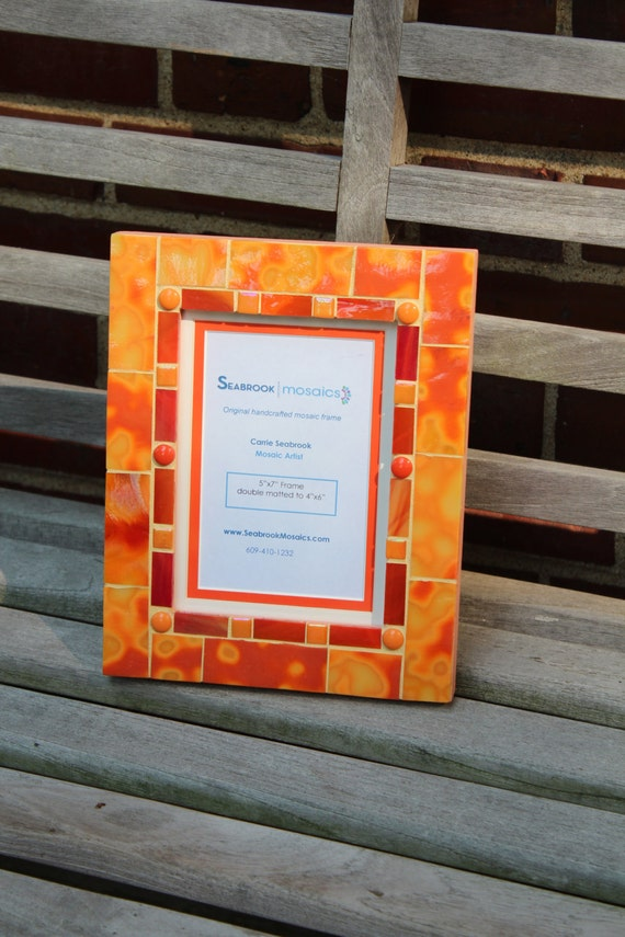 Orange Tie Dye Mosaic Picture Frame Etsy