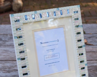 White and Blue - Mosaic Picture Frame (Wedding Frame)