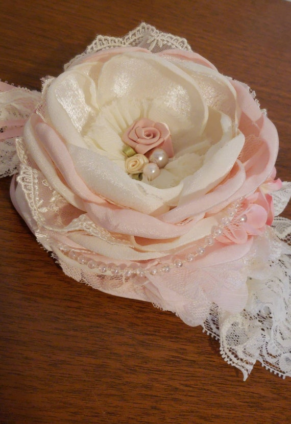 SHABBY SILVER PEARL SATIN LACE W// FLOWER HEADBAND HANDMADE MADE IN USA PICK SIZE