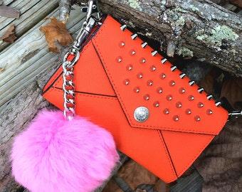 Pink Rabbit Fur Purse Charm (silver)