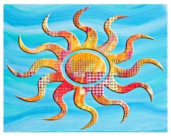 Printable Art,Southwest art, sun art,yellow decore,blue wall art, sun decor, wall art, printabel wall art,southern style art