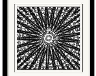 Printable Artwork, Wall Art, Instand Download, Digital Download,BW Art,  Black White Star Design Pattern