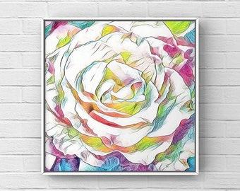 Watercolor Multicolor Rose Printable Digital Art  Image