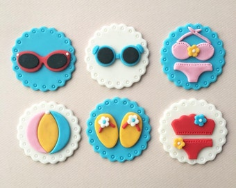 Summer Beach Fun Fondant Cupcake Toppers (Sunglasses, Sandals, Beach Volleyball, Bikini)