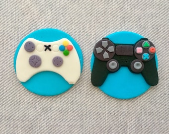 12 PlayStation 4 and XBox game controller fondant cupcake toppers