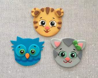 12 Daniel Tiger Themed Fondant Cupcake Toppers (Daniel Tiger, O the Owl, and Katerina Kittycat)