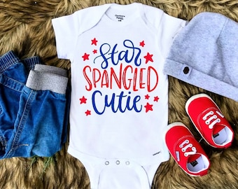White /& Cute 1st 4th of July Onesie Outfit Unique Baby Girls Red