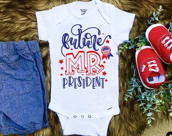 Baby cute clothes. Future president baby romper Cute and funny baby boy or girl clothes