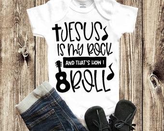 3f2515953 Jesus is my rock, Baby Onesie, Christian baby, Funny Baby Onesie, Baby  Onesie Announcement, Baby Shower Gift