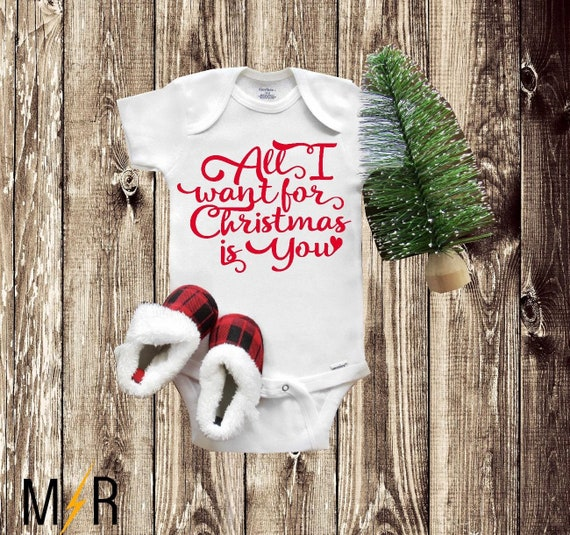 963b49b53a90 Christmas Onesie® All I want for Christmas is you Baby