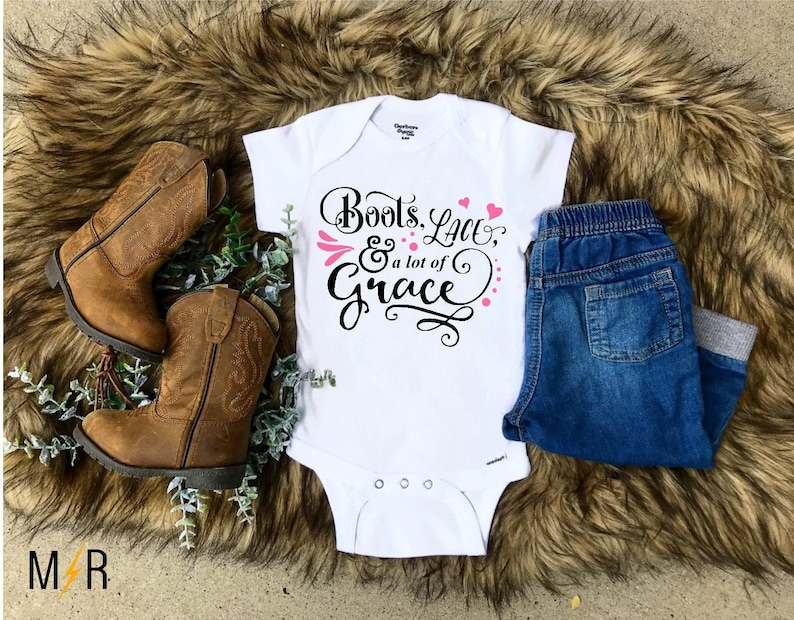 b6e14a4f6715b Baby girl Onesie®, Country Onesie®, Boots Lace and alot of Grace, Baby  shower gift, Baby girl, Newborn Onesie, Country girl, Southern girl