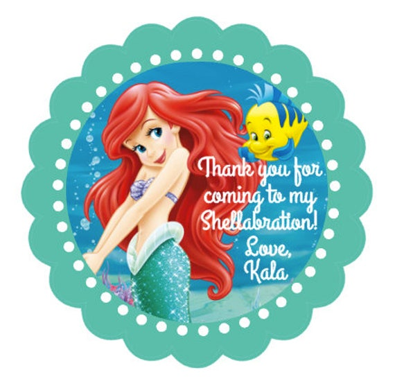 The Little Mermaid Ariel Party Favor Stickers Ariel Party Favors La Sirenita Little Mermaid Birthday Stickers Under The Sea Set Of 24