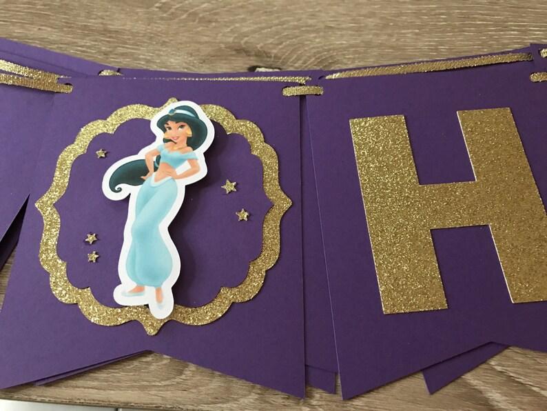 Princess Jasmine Happy Birthday Banner, Birthday Party Decoration, Jasmine  Birthday Banner, Purple and Gold letter, Disney Jasmine birthday