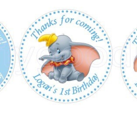 Dumbo Party Stickers Dumbo Birthday personalized stickers. | Etsy