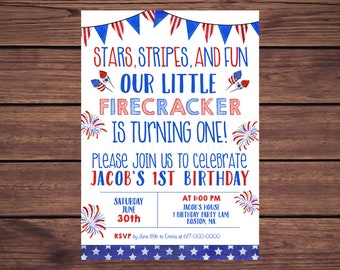 4th of july birthday invitations red white and blue 3rd etsy
