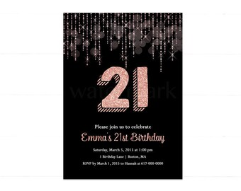 21st Birthday Invitations Etsy