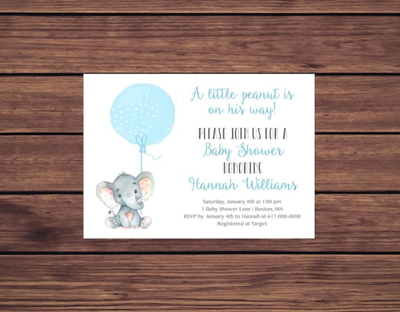 Elephant baby shower invitation boy blue elephant with balloon baby il570xn filmwisefo