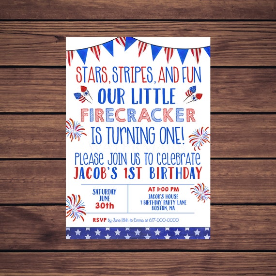 4th Of July Birthday Invitations Red White And Blue 1st First Any Age 343 Printable Invitation