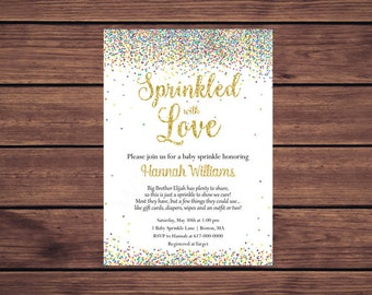 Sprinkled with Love Baby Sprinkle Invitations Girl Boy Gender Neutral, Baby Boy Baby Girl Confetti Sprinkle   445 Printable