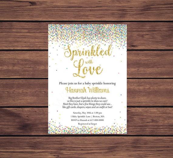 Sprinkled With Love Baby Sprinkle Invitations Girl Boy Gender