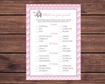 Elephant What's in Your Purse Game, Whats in Your Purse Baby Shower Game, Pink Chevron Instant Download Printable 247
