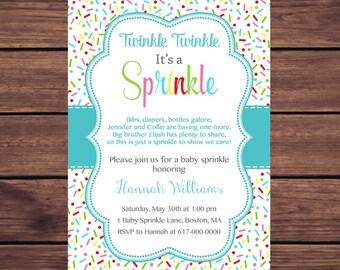 Baby Sprinkle Invitation Boy, Sprinkles Teal Aqua Baby Boy Sprinkle Invitation, Blue Baby Boy Sprinkle, printable Printable