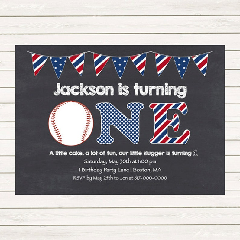Baseball 1st Birthday Invitations Red