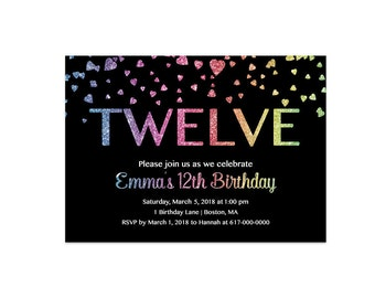 12th Birthday Invitation Girl, Any Age Colorful Rainbow Glitter Hearts Girl Twelve Birthday   262 Printable Invitation