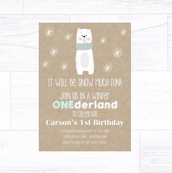 Winter Onederland Birthday Invitation Boy Polar Bear 1st Birthday