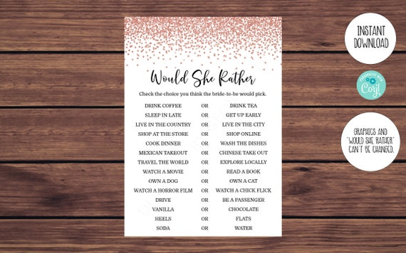 Editable Would She Rather Game Printable Editable Instant Download 522 Rose Gold Bridal Shower Game