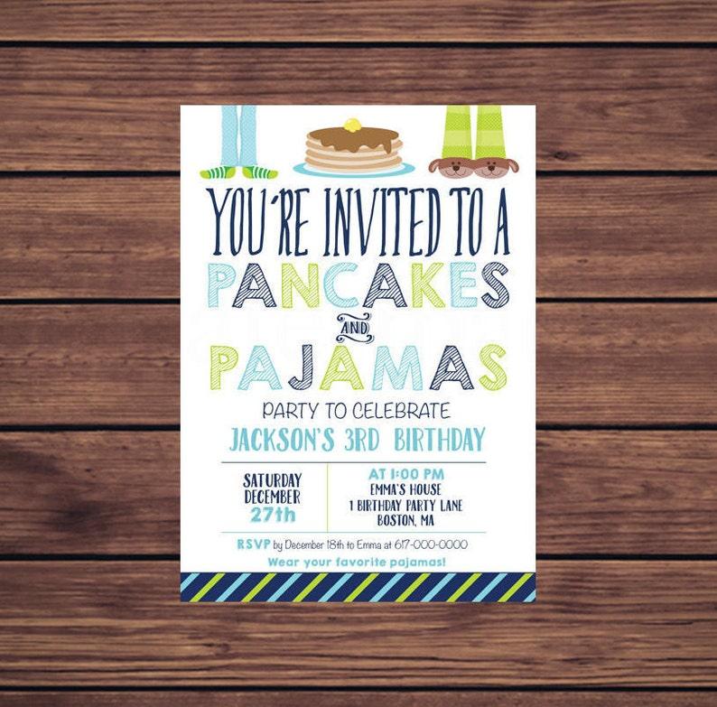 ee121906e492 Pancake and Pajama Party Invitation Blue Pancakes and Pajamas