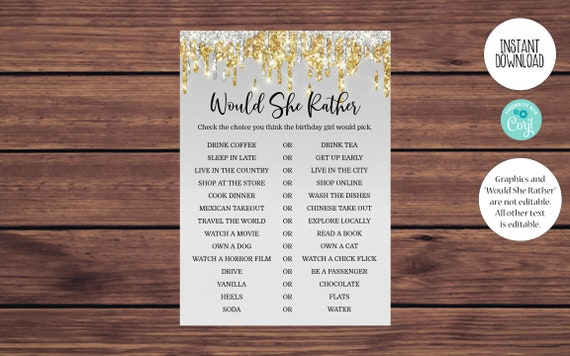 How Old Gold and Silver Would She Rather Printable Editable Instant Download 150 Editable Birthday Party Game Bundle Whats on Your Phone