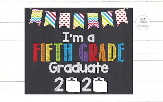 5th Grade Graduate Sign, Rainbow Last Day of 5th Grade ...