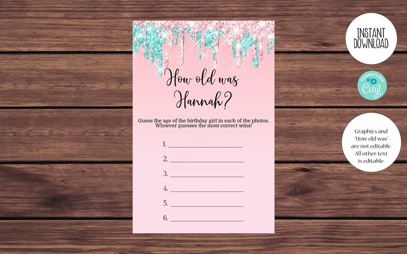 Women/'s Birthday Party Game Printable Editable Instant Download 130 Editable Pink and Blue How Old Was the Birthday Girl