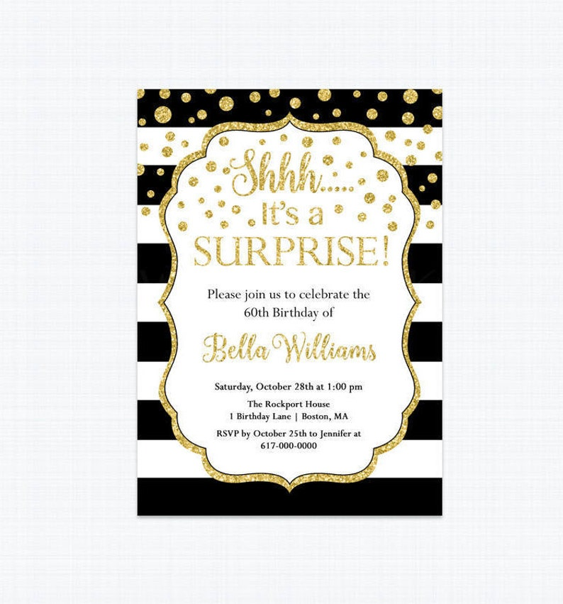 Surprise Birthday Invitation Black White And Gold 30th 40th