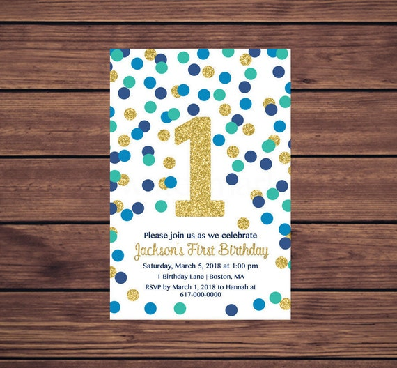 1st birthday invitation boy blue teal gold confetti first birthday