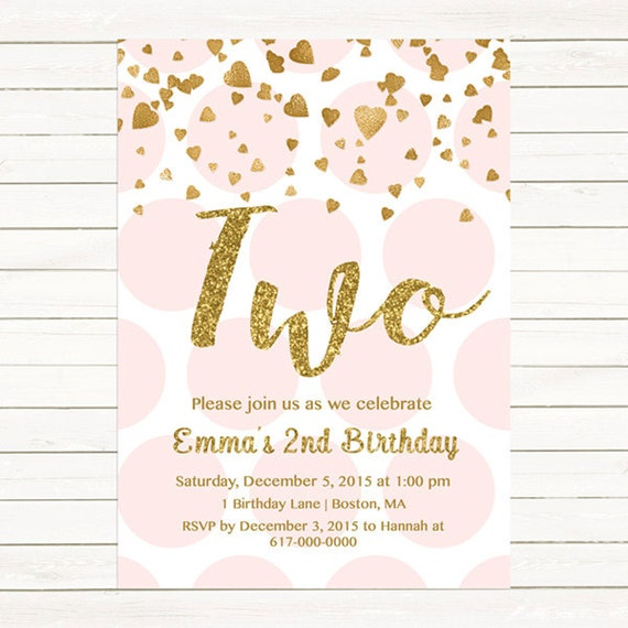 pink and gold 2nd birthday invitation girl any age pink gold heart