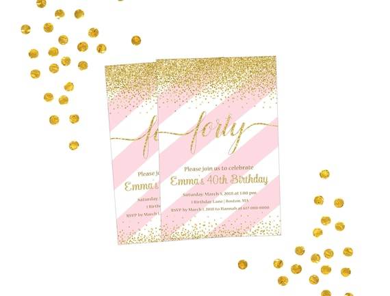 40th Birthday Invitation Pink And Gold 21st 30th 50th 60th 70th Any Age 350 Printable
