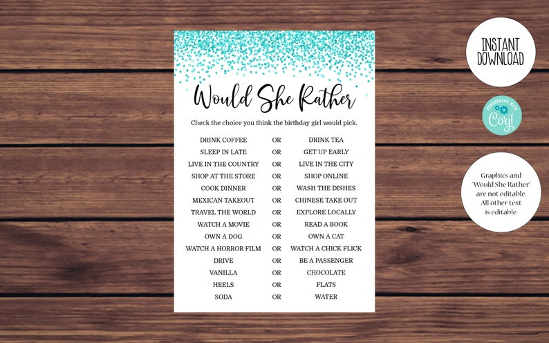 Blue Women/'s Birthday Party Game Editable Would She Rather Birthday Game Printable Editable Instant Download 180