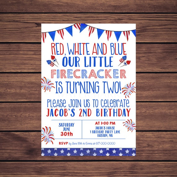 4th Of July Birthday Invitations Red White And Blue 2nd Any Age 343 Printable Invitation
