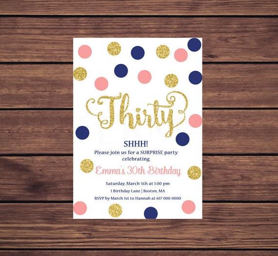 30th Birthday Invitation Navy Pink Gold