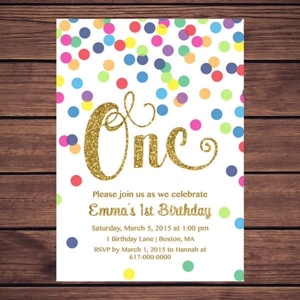 Rainbow 1st Birthday Invitation Girl Polka Dot
