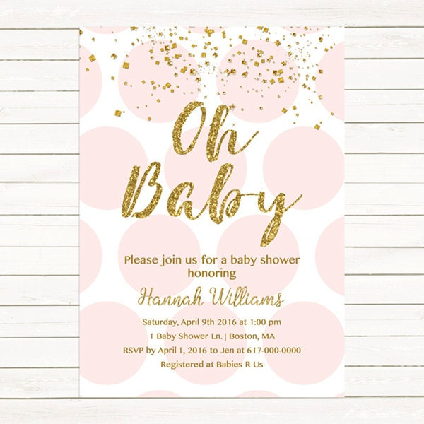 Pink And Gold Baby Shower Invitation Gold Confetti Baby Girl Etsy